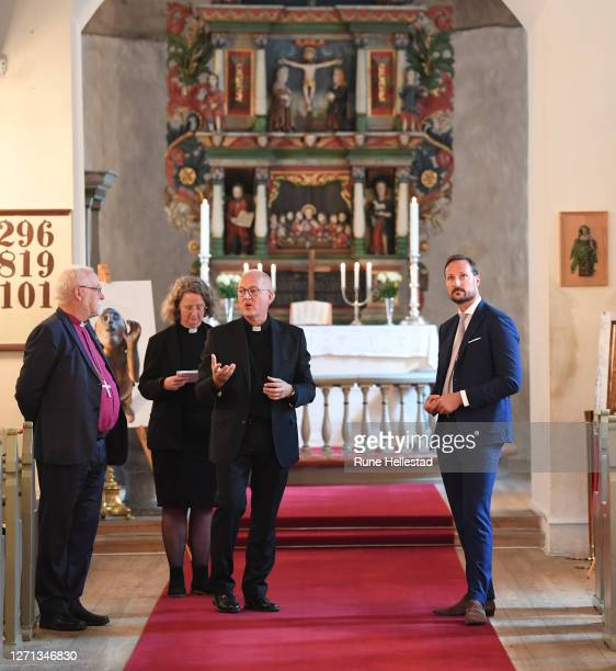 Crown Prince Haakon , bishop Atle Sommerfeldt with priests Tor Bjorn Andresen Osberg and Ingvild Osberg attend the 900 year jubilee for Rygge Church...