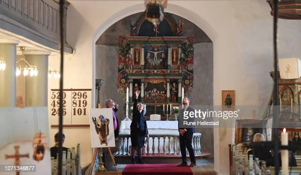 Crown Prince Haakon, bishop Atle Sommerfeldt with priests Tor Bjorn Andresen Osberg and Ingvild Osberg attend the 900 year jubilee for Rygge Church...