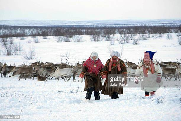 Crown Prince Haakon Crown Princess Mette Marit Of Norway On A Two Day Visit To Finnmark In Norway Visit A Sami Reindeer Herders Winter Settlement...