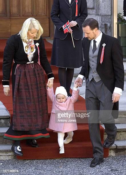 Crown Prince Haakon, Crown Princess Mette-Marit & Princess Ingrid Alexandra Attend The Norway National Day Celebrations In Skaugum.