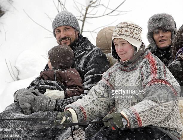 Crown Prince Haakon Crown Princess MetteMarit Princess Ingrid Alexandra Attend King Harald Of Norway'S 70Th Birthday CelebrationsSleigh Ride In...