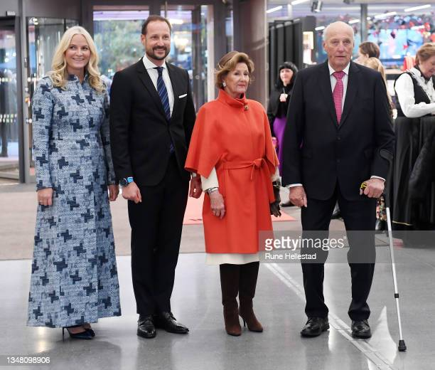Crown Prince Haakon, Crown Princess Mette-Marit, Queen Sonja and King Harald attend the opening of the new Munch museum on October 22, 2021 in Oslo,...