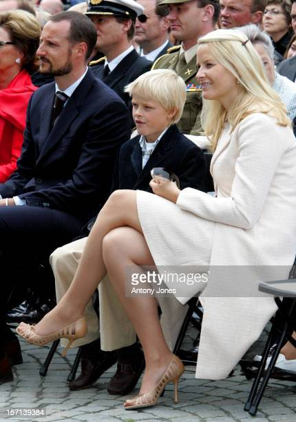 Crown Prince Haakon Crown Princess MetteMarit Son Marius Attend The Celebrations In Trondheim For The Centennial Anniversary Of King Haakon Vii Queen...