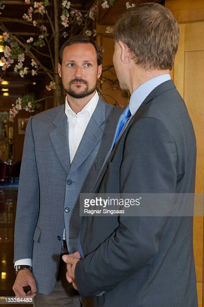 HRH Crown Prince Haakon Magnus and Erik Solheim attends 'Young Leaders Summit II' during the AIDS 2031 conference at Losby Gods on June 23 2009 in...