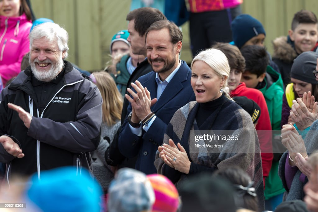 Crown Prince Haakon of Norway and Crown Princess Mette Marit of Norway meet the local people during her visit to the Ice Lake forest in Bjerke District on March 27, 2017 in Oslo, Norway.