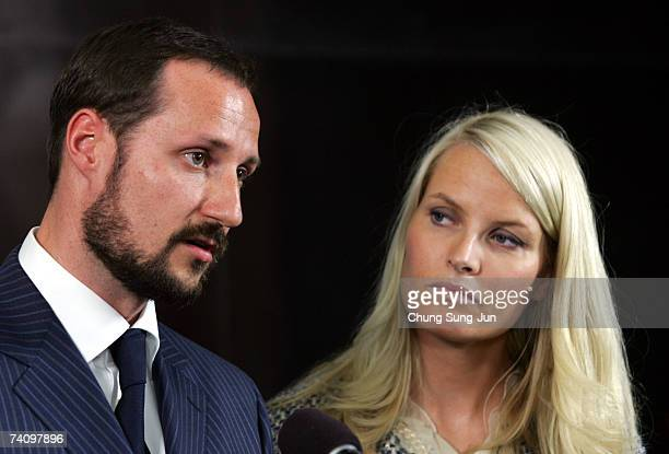 Crown Prince Haakon of Norway and Crown Princess Mette Marit speak at press conference during a visit to the former South Korean president Kim...