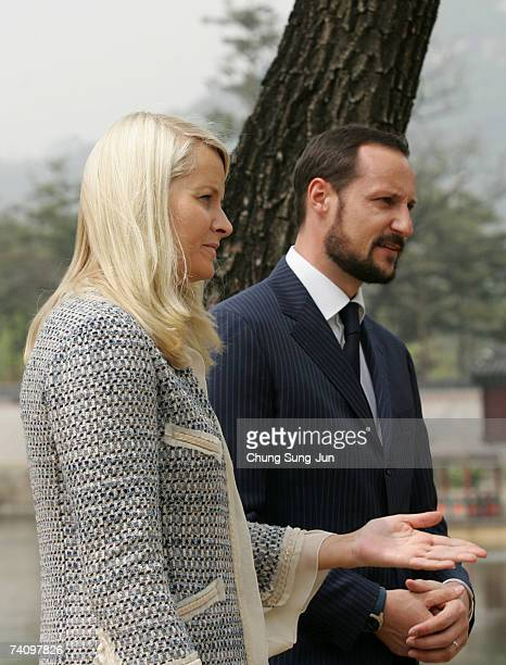 Crown Prince Haakon of Norway and Crown Princess Mette Marit visit the Gyeongbok palace of the Joseon Dynasty on May 8, 2007 in Seoul, South Korea....