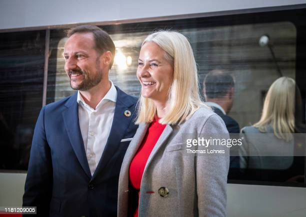 Crown Prince Haakon of Norway and Crown Princess MetteMarit of Norway arrive with the literature train to visit the Frankfurt Book Fair 2019 on...