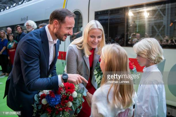 Crown Prince Haakon of Norway and Crown Princess Mette-Marit of Norway arrive with the literature train to visit the Frankfurt Book Fair 2019 on...