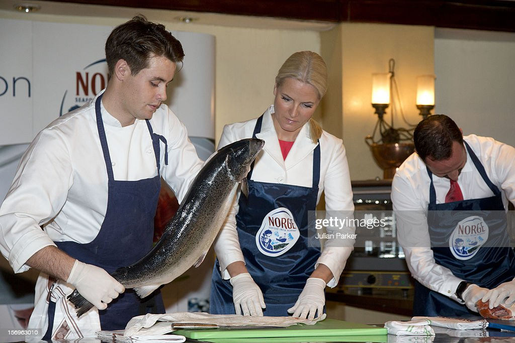 Crown Prince Haakon of Norway and Crown Princess Mette-Marit of Norway take part in a Norwegian seafood promotion,master class, with Norwegian chefs, at The Shangri-La Hotel,in Jarkarta during an official 3-day visit to Indonesia, on November 26, 2012 in Jakarta, Indonesia. The visit intends to strengthen and develop the existing relationship between the countries, especially in relation to the energy, maritime, trade and investment sectors.