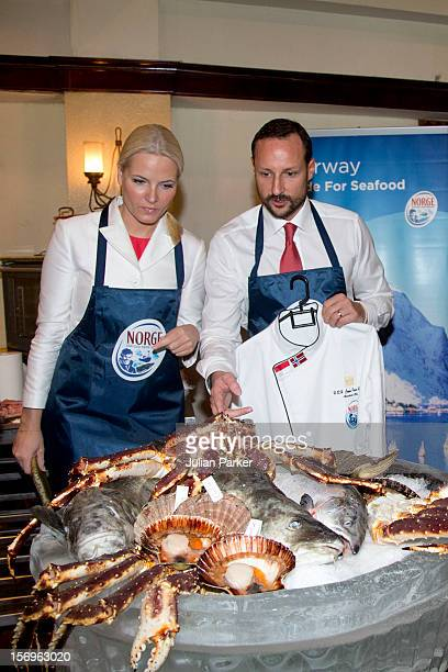 Crown Prince Haakon of Norway and Crown Princess Mette-Marit of Norway take part in a Norwegian seafood promotion,master class, at The Shangri-La...