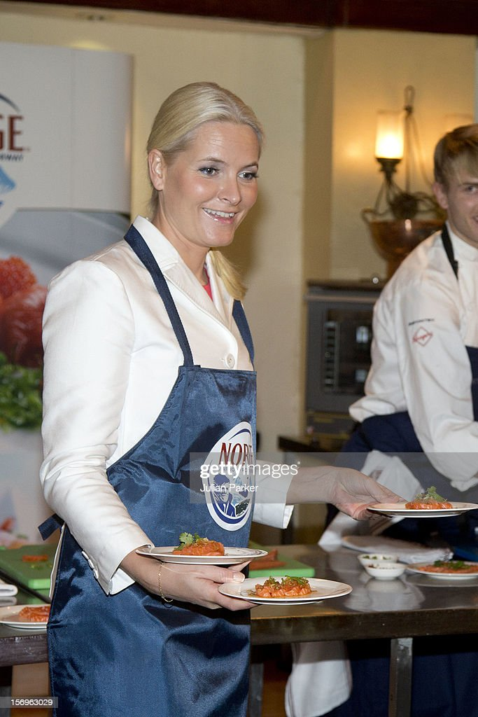 Crown Prince Haakon of Norway and Crown Princess Mette-Marit of Norway take part in a Norwegian seafood promotion,master class, at The Shangri-La Hotel,in Jarkarta during an official 3-day visit to Indonesia, on November 26, 2012 in Jakarta, Indonesia. The visit intends to strengthen and develop the existing relationship between the countries, especially in relation to the energy, maritime, trade and investment sectors.