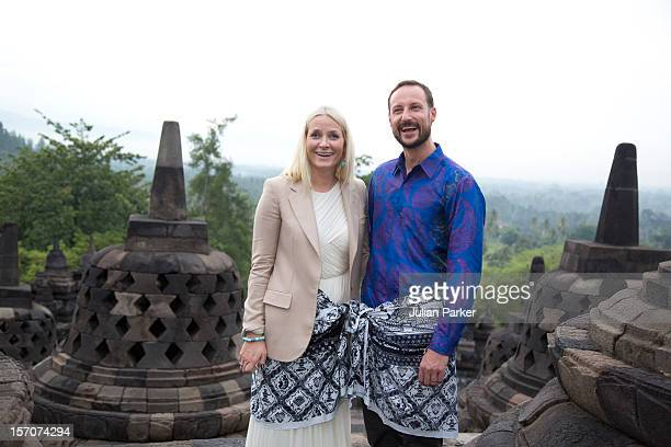 Crown Prince Haakon of Norway and Crown Princess MetteMarit of Norway visit Borobudur Temple near Yogyakarta during an official 3day visit to...