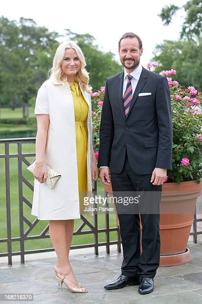 Crown Prince Haakon of Norway and Crown Princess MetteMarit of Norway attend a buffet dinner at the River Oaks Country Club in Houston during day two...