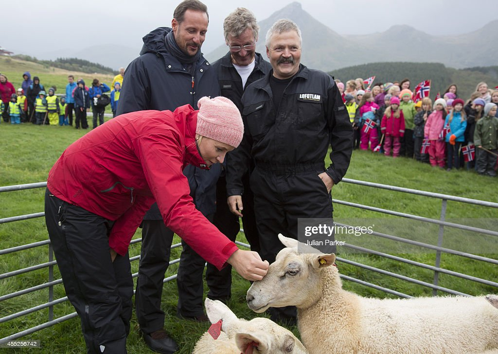 Crown Prince Haakon of Norway and Crown Princess Mette-Marit of Norway visit the community of Leknes, during an official visit to Nordland on September 11, 2014 in Nordland, Norway.