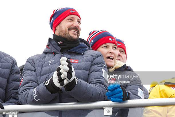 Crown Prince Haakon of Norway and Crown Princess MetteMarit of Norway attend the FIS Nordic World Ski Championships on February 28 2015 in Falun...