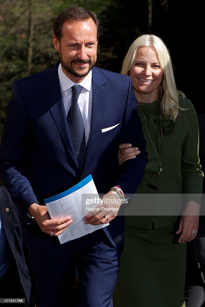 Crown Prince Haakon of Norway and Crown Princess Mette-Marit of Norway attend the 25th anniversary of CICERO (the Center for International Climate and Environmental Research) on April 27, 2015 in Oslo, Norway.