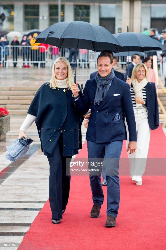 Crown Prince Haakon of Norway and Crown Princess Mette-Marit of Norway attend a lunch on the Norwegian Royal yatch 'Norge'to celebrate the 80th birthdays of King Harald of Norway and Queen Sonja of Norway on May 10, 2017 in Oslo, Norway.