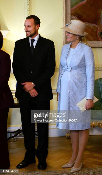 Crown Prince Haakon of Norway and Crown Princess MetteMarit who is eight months pregnant pose inside 10 Downing Street on October 25 2005 in London...
