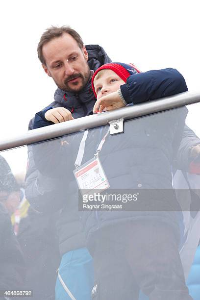 Crown Prince Haakon of Norway and Prince Sverre Magnus of Norway attend the FIS Nordic World Ski Championships on March 1 2015 in Falun Sweden