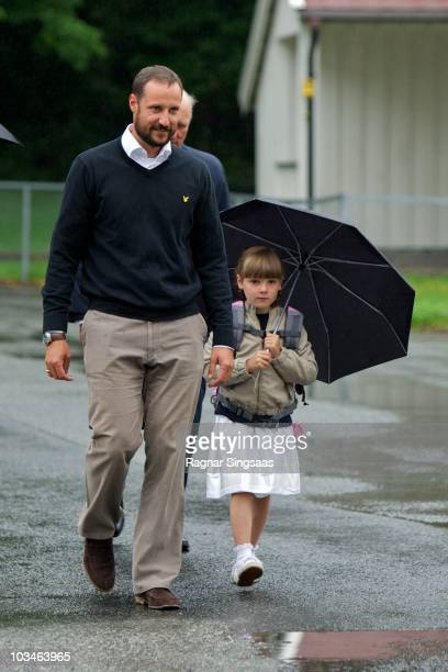 Crown Prince Haakon of Norway and Princess Ingrid Alexandra of Norway accompanies Princess Ingrid Alexandra to her first day at school at Janslokka...