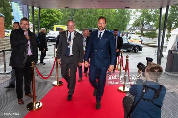 Crown Prince Haakon of Norway arrives at the Starmus Festival on June 21 2017 in Trondheim Norway
