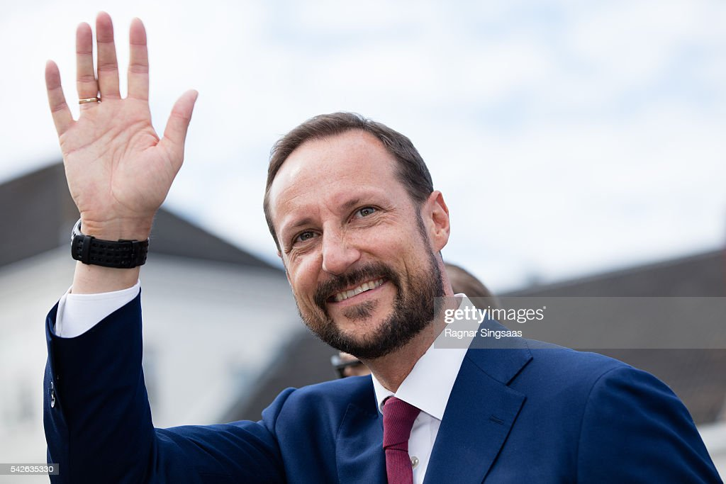 Crown Prince Haakon of Norway attends festivities at the Ravnakloa fish market during the Royal Silver Jubilee Tour on June 23, 2016 in Trondheim, Norway.