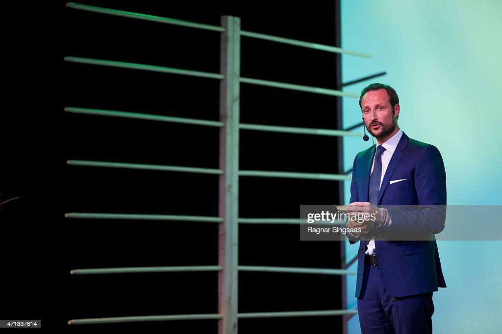 Crown Prince Haakon of Norway attends the 25th anniversary of CICERO (the Center for International Climate and Environmental Research) on April 27, 2015 in Oslo, Norway.