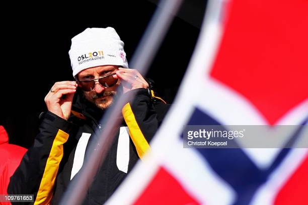 Crown Prince Haakon of Norway attends the Men's Cross Country 4x10km Relay race during the FIS Nordic World Ski Championships at Holmenkollen on...