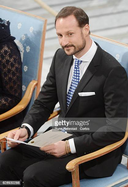 Crown Prince Haakon of Norway attends the Nobel Peace Prize ceremony at Oslo City Town Hall on December 10, 2016 in Oslo, Norway.
