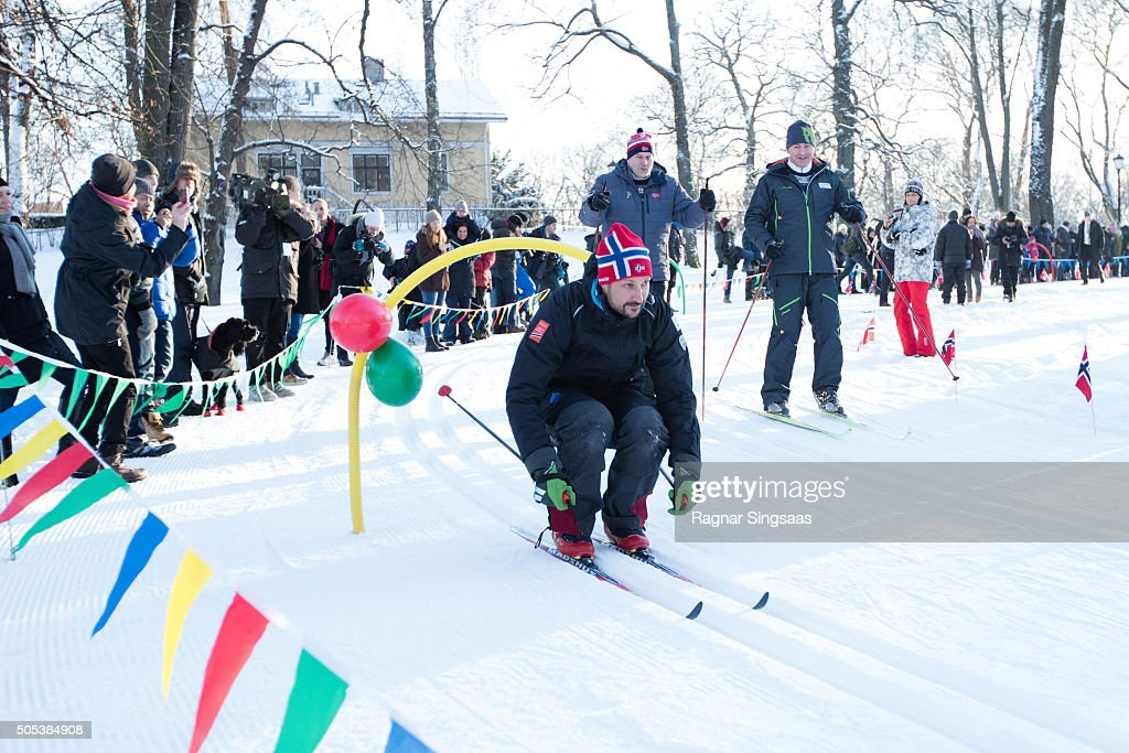 Crown Prince Haakon of Norway attends Winter Games activities outside the Royal Palace while celebrating the 25th anniversary of King Harald V and Queen Sonja of Norway as monarchs on January 17, 2016 in Oslo, Norway.