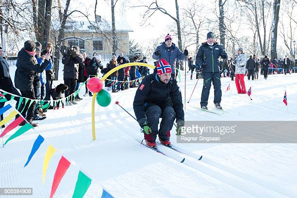 Crown Prince Haakon of Norway attends Winter Games activities outside the Royal Palace while celebrating the 25th anniversary of King Harald V and...
