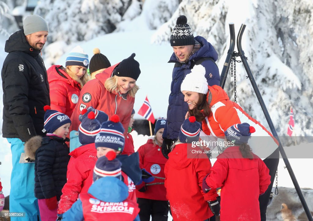 Crown Prince Haakon of Norway, Crown Princess Mette Marit of Norway, Prince William, Duke of Cambridge and Catherine, Duchess of Cambridge attend an event organised by the Norwegian Ski Federation, where they join local nursery children in a number of outdoors activities at Holmenkollen ski jump on day 4 of their visit to Sweden and Norway on February 2, 2018 in Oslo, Norway.