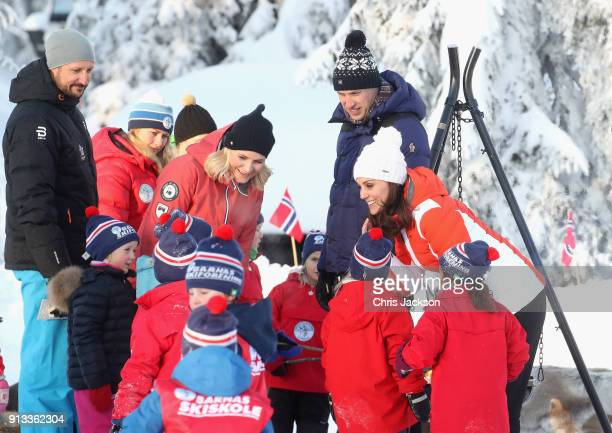 Crown Prince Haakon of Norway Crown Princess Mette Marit of Norway Prince William Duke of Cambridge and Catherine Duchess of Cambridge attend an...
