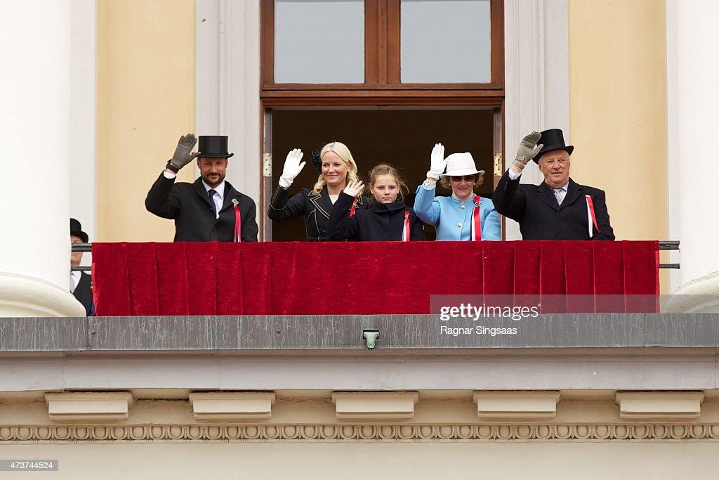 Crown Prince Haakon of Norway, Crown Princess Mette-Marit of Norway, Princess Ingrid Alexandra of Norway, Queen Sonja of Norway and King Harald V of Norway celebrate National Day on May 17, 2015 in Oslo, Norway.