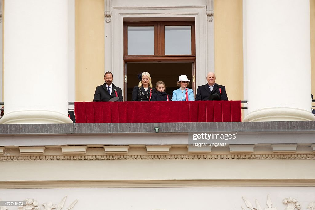 Crown Prince Haakon of Norway, Crown Princess Mette-Marit of Norway, Princess Ingrid Alexandra of Norway, Queen Sonja of Norway and King Harald V of Norway celebrate National Day on May 17, 2015 in Oslo, Norway.