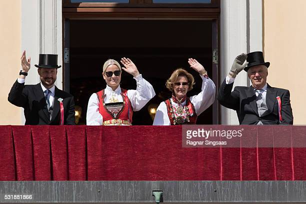 Crown Prince Haakon of Norway Crown Princess MetteMarit of Norway Queen Sonja of Norway and King Harald V of Norway celebrate National Day on May 17...