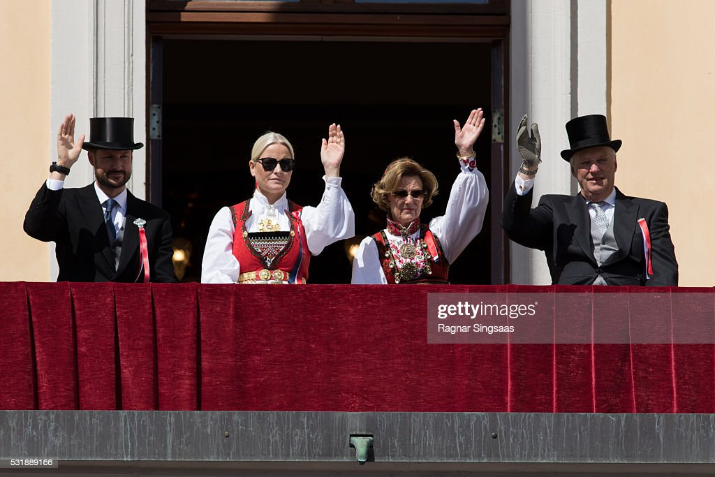 Crown Prince Haakon of Norway, Crown Princess Mette-Marit of Norway, Queen Sonja of Norway and King Harald V of Norway celebrate National Day on May 17, 2016 in Oslo, Norway.