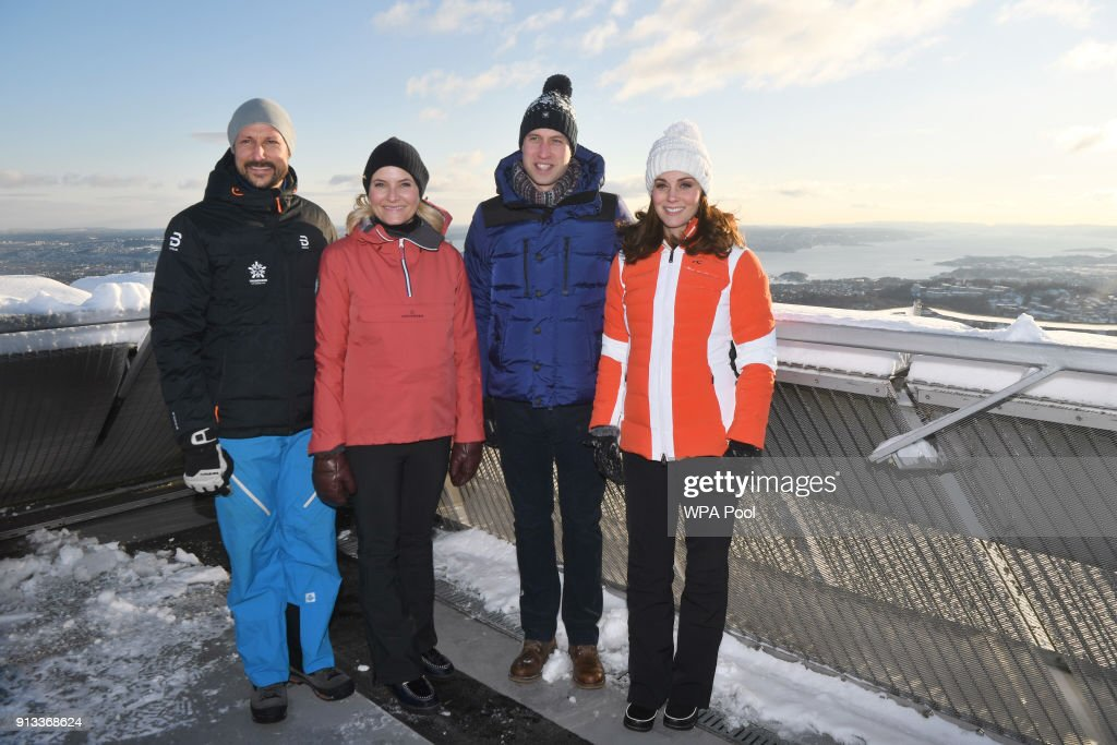 Crown Prince Haakon of Norway, Crown Princess Mette-Marit of Norway, Catherine, Duchess of Cambridge and Prince William, Duke of Cambridge before meeting junior ski jumpers from Norway's national team at the top of the Holmenkollen ski jump, where she and Prince William, Duke of Cambridge, take a short tour of the museum and ascend to the top of ski jump to talk with and observe junior ski jumpers from Norway's national team on day 4 of their visit to Sweden and Norway on February 2, 2018 in Oslo, Norway.