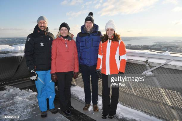 Crown Prince Haakon of Norway Crown Princess MetteMarit of Norway Catherine Duchess of Cambridge and Prince William Duke of Cambridge before meeting...