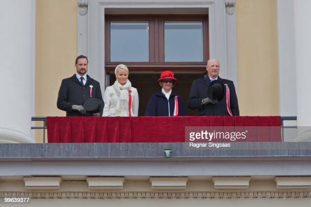 Crown Prince Haakon of Norway Crown Princess MetteMarit of Norway Queen Sonja of Norway and King Harald V of Norway attend The Children's Parade on...