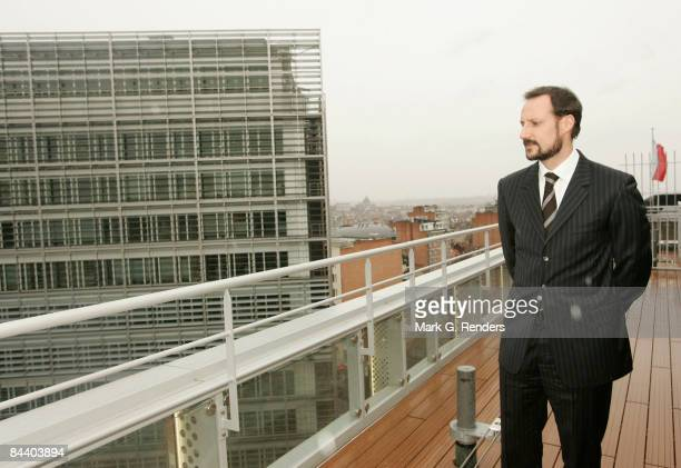 Crown Prince Haakon of Norway poses for a photo on a terrace overlooking the Berlaymont Building during his visit to Norway House on January 22 2009...