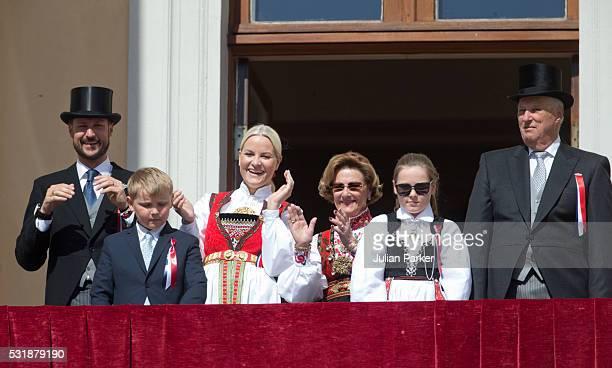 Crown Prince Haakon of Norway Prince Sverre Magnus Crown Princess MetteMarit of Norway Queen Sonja of Norway Princess Ingrid Alexandra King Harald of...