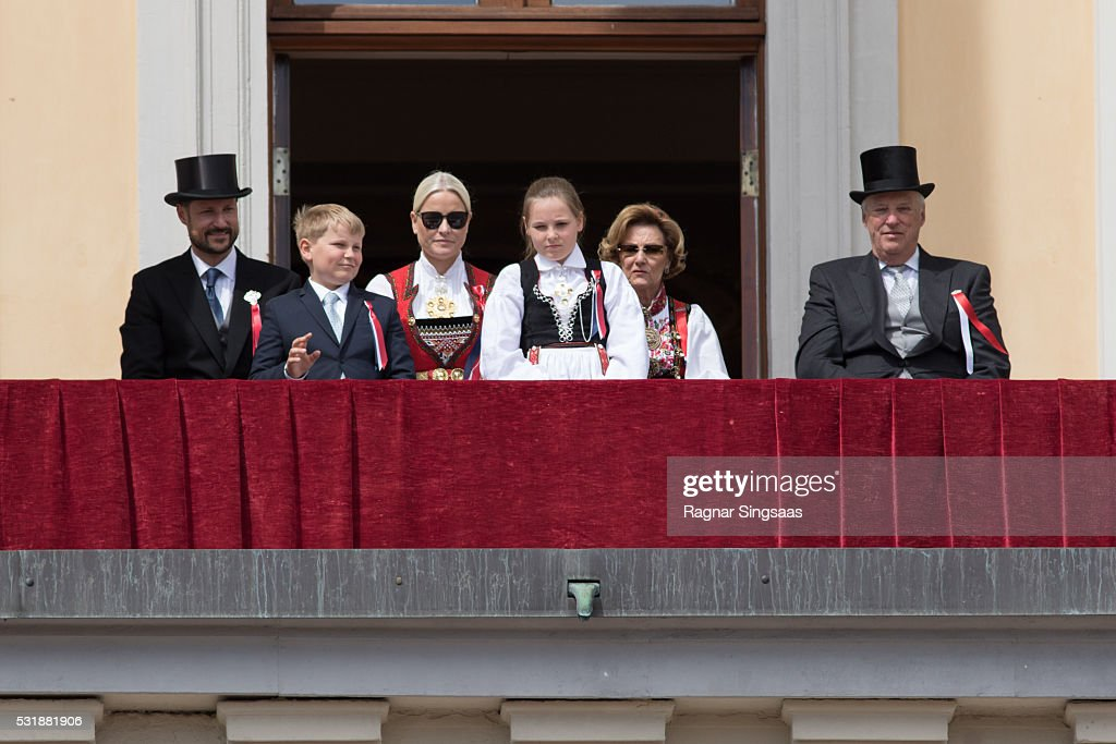 Crown Prince Haakon of Norway, Prince Sverre Magnus of Norway, Crown Princess Mette-Marit of Norway, Princess Ingrid Alexandra of Norway, Queen Sonja of Norway and King Harald V of Norway celebrate National Day on May 17, 2016 in Oslo, Norway.
