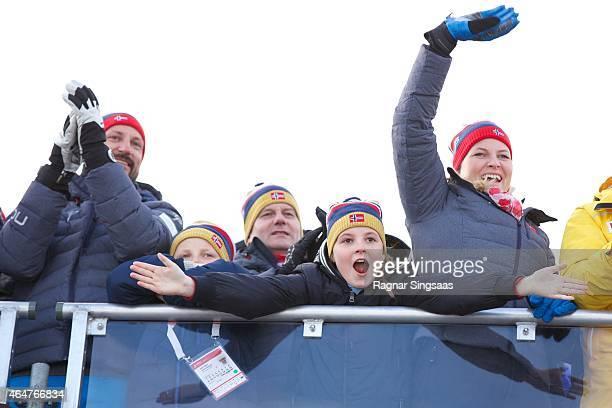 Crown Prince Haakon of Norway, Prince Sverre Magnus of Norway, Princess Ingrid Alexandra of Norway and Crown Princess Mette-Marit of Norway attend...