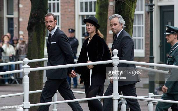 Crown Prince Haakon of Norway, Princess Martha-Louise of Norway and Ari Behn arrive at the memorial service for Prince Friso who died in august this...