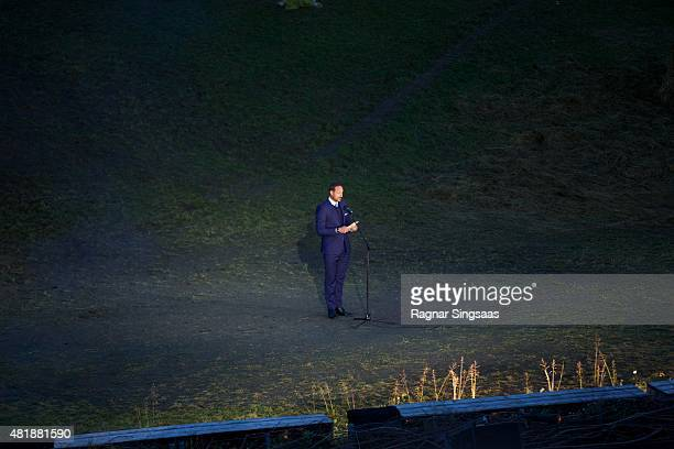 Crown Prince Haakon of Norway speaks during The Saint Olav Festival on July 24 2015 in Stiklestad Norway
