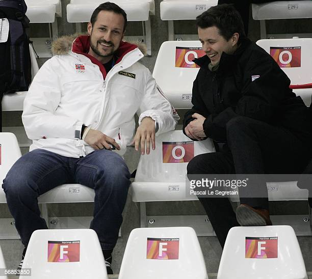 Crown Prince Haakon of Norway speaks with Prince Frederik of Denmark during the preliminary round of the Women's curling between Japan and Norway...