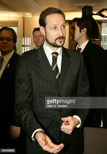Crown Prince Haakon of Norway visits employees during his visit to Norway House on January 22, 2009 in Brussels, Belgium.