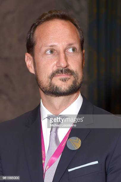 Crown Prince Haakon of Norway visits The United Nations Security Council during Norway's campaign launch for an elected seat in The UN Security...